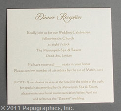 Palm Beach Reception Card